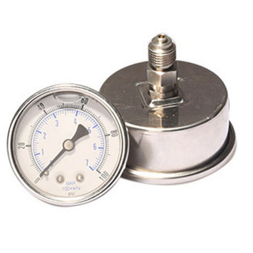 wet dial pressure gauge / liquid-filled Bourdon tube / for oil / for marine applications