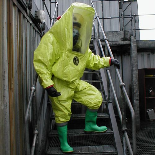 work coveralls / chemical protection / laminated material / zippered