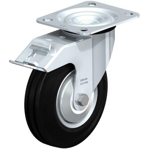 swivel caster / rod / steel / pressed steel