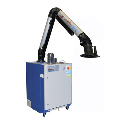 mobile fume extractor / welding / cartridge / with extraction arm