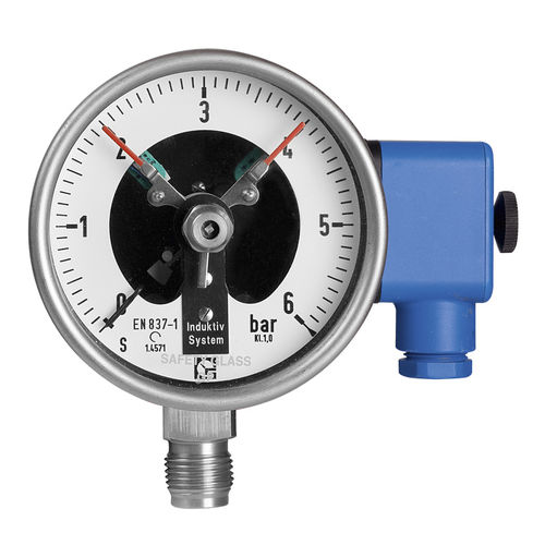 pressure gauge with electrical contact / dial / Bourdon tube / for gas