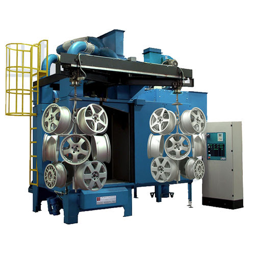 hook shot blasting machine / suspended load / for wheel rims / automatic