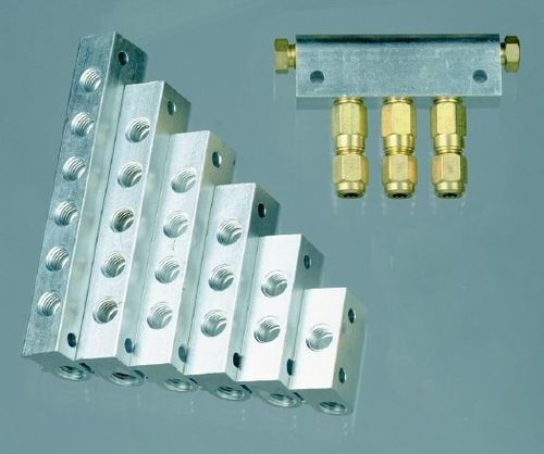 6-way manifold / aluminum / for centralized lubrication systems