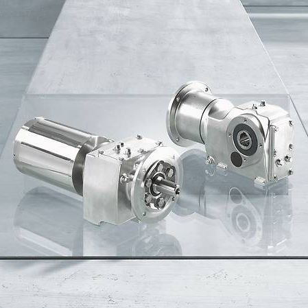orthogonal gearmotor / helical / stainless steel / compact