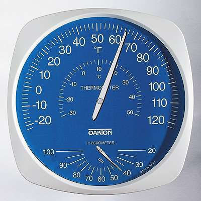 dial thermo-hygrometer / wall-mounted / temperature / relative humidity