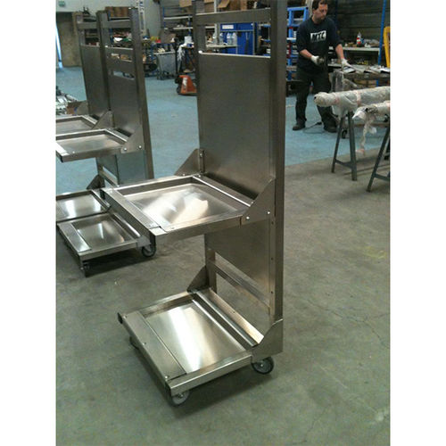 work station cart / stainless steel / 2 levels / with swivel casters