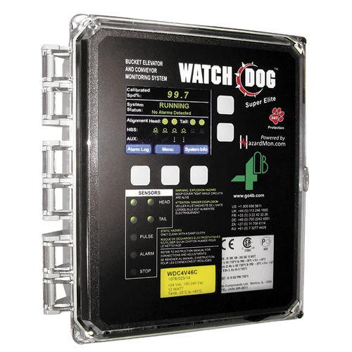 belt conveyor monitoring device / speed / alignment / for bucket elevators