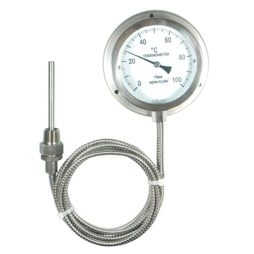 liquid dilation thermometer / analog / flange / stainless steel