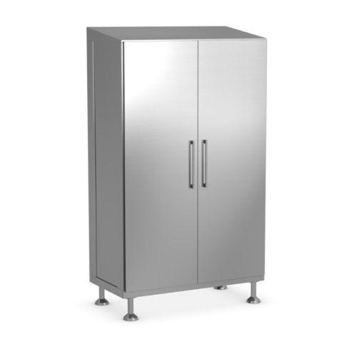 storage cabinet / free-standing / double-door / stainless steel