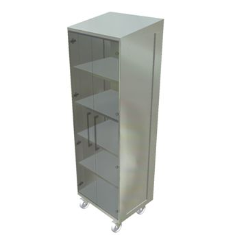 storage cabinet / on casters / shelf / with glass doors