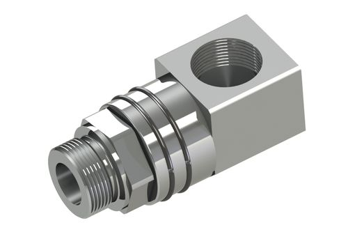 screw-in fitting / 90° angle / hydraulic / swivel