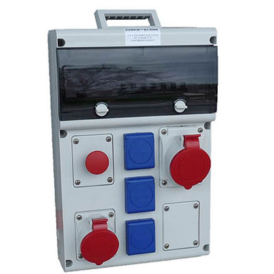 equipped electrical enclosure / portable / thermoplastic / for construction sites