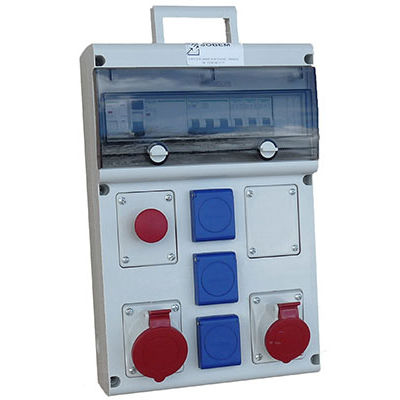 equipped electrical enclosure / wall-mounted / thermoplastic / for construction sites