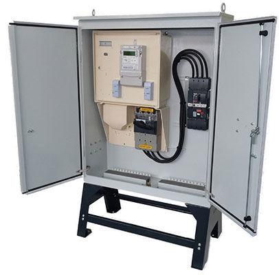 electric metering cabinet / free-standing / double-door / steel
