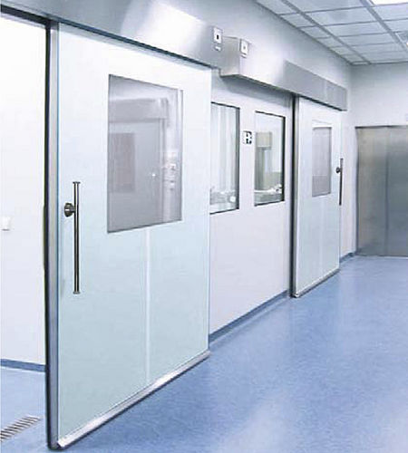 sliding door / metal / for clean rooms / industrial