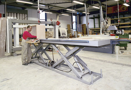 tandem scissor lift table / hydraulic / stationary
