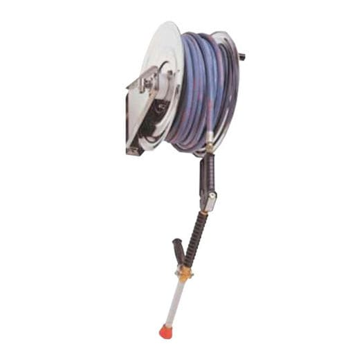 cleaning hose reel / manual / fixed / stainless steel