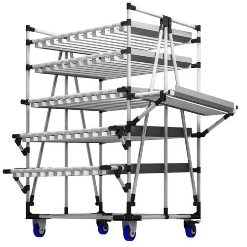 storage warehouse shelving / for heavy loads / mobile / with shelves