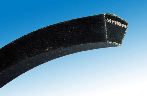 trapezoidal transmission belt / rubber / wrapped