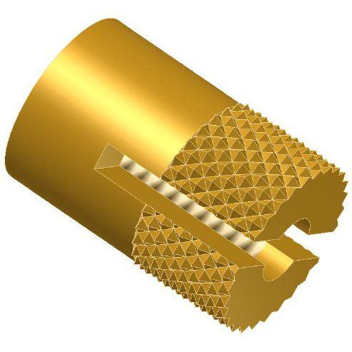 threaded insert / press-in / brass / round