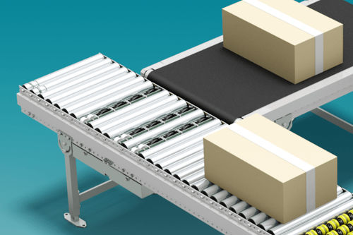 roller conveyor / for boxes / for containers / for trays