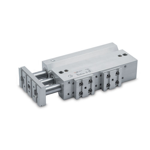 pneumatic cylinder / compact / guided / anodized aluminum