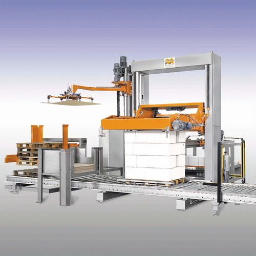 layer palletizer / low level infeed / for crates / for heat-shrink film packages