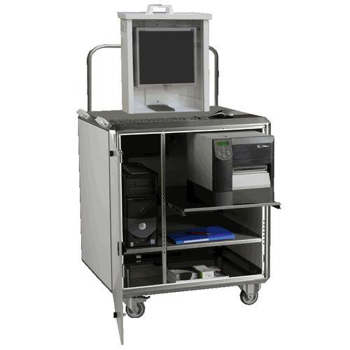 mobile enclosure / for desktop computers / rectangular / stainless steel
