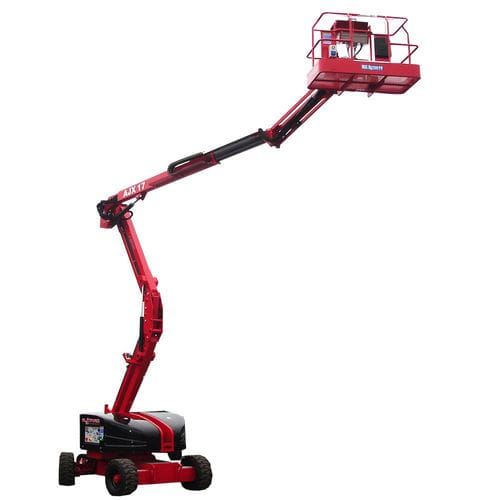 diesel-electric hybrid articulated boom lift / self-propelled / wheeled / rough terrain