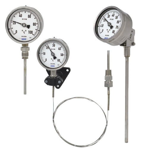 stem type gas expansion thermometer / analog / insertion / stainless steel