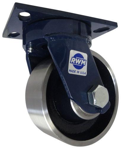 swivel caster / base plate / heavy-duty / with brake