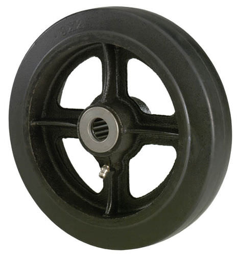 wheel with solid tire / rubber / cast iron / for containers