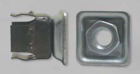threaded insert / zinc-plated steel / square / tube-end