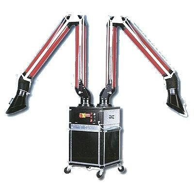 mobile fume extractor / soldering / dry filter / with multiple extraction arms