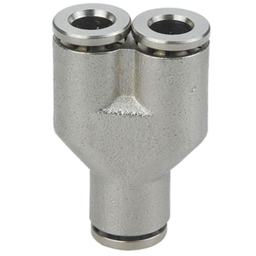 push-in fitting / Y / pneumatic / nickel-plated brass
