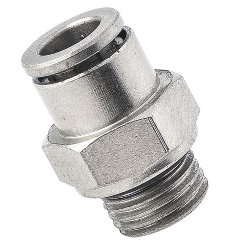 push-in fitting / straight / pneumatic / nickel-plated brass