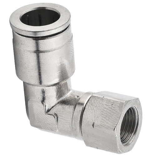 screw-in fitting / push-in / 90° angle / pneumatic