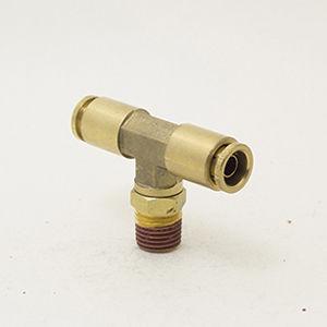 push-to-lock fitting / T / pneumatic / brass