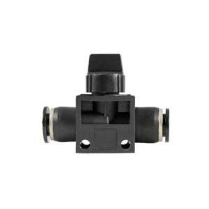 push-in fitting / straight / pneumatic / with shut-off valve