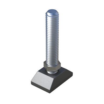 machine foot / polyamide / zinc-coated steel / adjustable