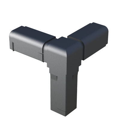 square tube connector / steel / polyamide