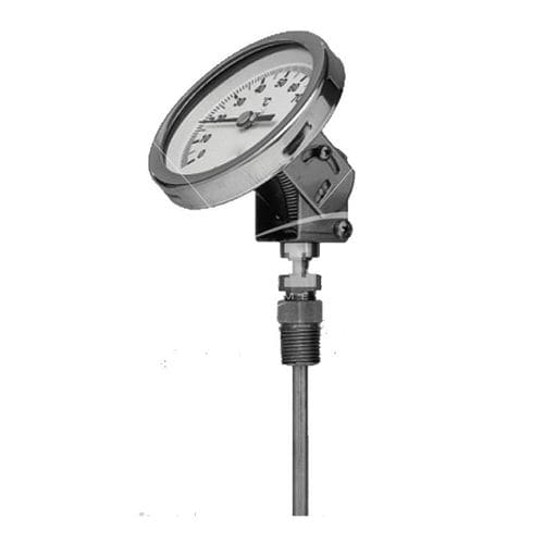 bimetallic thermometer / dial / insertion / stainless steel
