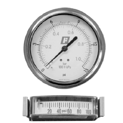 analog pressure gauge / Bourdon tube / process / panel-mount