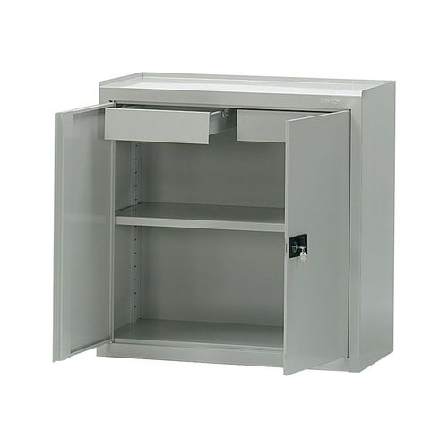 storage cabinet / floor-mounted / with drawer / hinged door