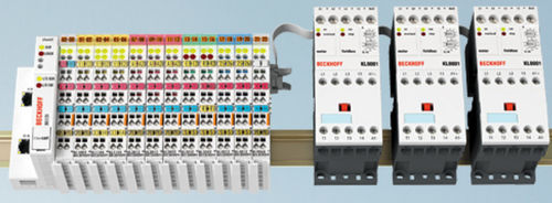 DIN rail-mounted terminal block / feed-through / power