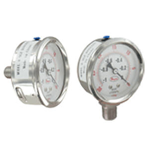 dial pressure gauge / liquid-filled Bourdon tube / process / stainless steel