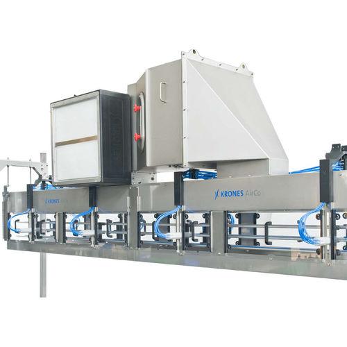 air-operated conveyor / for PET bottles / horizontal / buffer