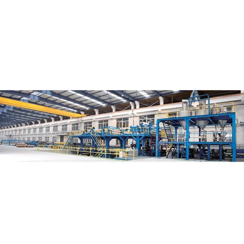sheet extrusion line / for PE / for steel-plastic composites