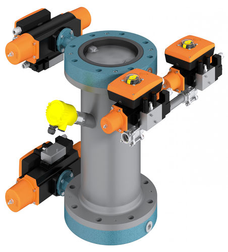 butterfly valve / pneumatically-operated / drain / metering