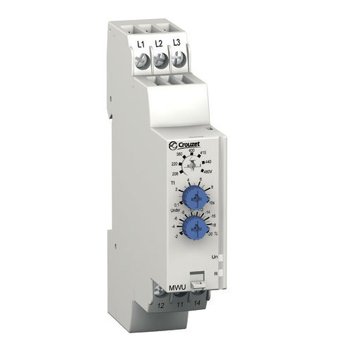 Phase control relay / 1 NO/NC / three-phase / DIN rail MW series Crouzet